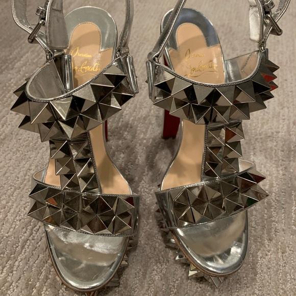 2aa11d0a0e2 Christian Louboutin Silver Spike Heels